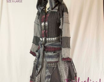 Upcycled Sweater Coat, Katwise Inspired, Goddess Coat, Festival Fashion by Triptastica