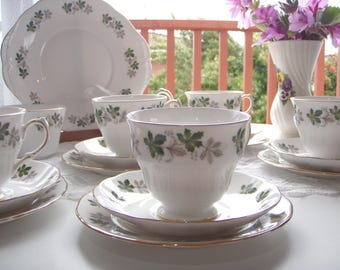 Vintage English Bone China Tea Set Ivy Leaves
