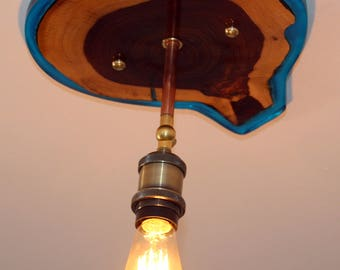 pendant light,Wood Light Fixture , Edison bulb, Vintage Style, Rustic Lighting,steampunk light,one of a kind light,epoxy resin