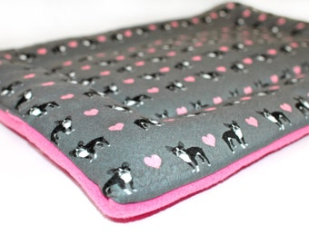 Boston Terrier dog bed, CUSTOM fleece, crate pad, crate bed