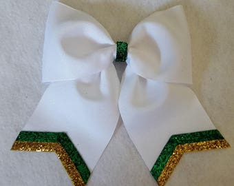 White Hairbow with Metallic Emerald Green and  Gold Stripes