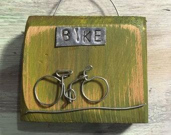 BIKE, miniture bike on reclaimed wood