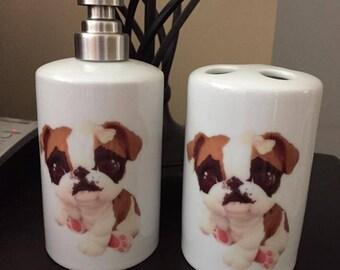 Custom Littlest Pet Shop English Bulldog Bathroom Set
