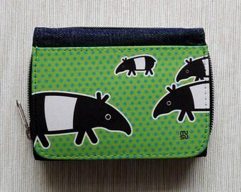 Wallet Purse Jeans Denim Card Holder Cash Coin Pocket Travel Snaps Debit Credit Photo Holder Zip Tapir