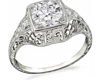Edwardian GIA Certified 1.00ct Diamond Engagement Ring