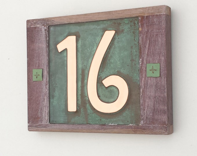 "Mission Mackintosh 6""/150mm house numbers, Oak framed Copper address plaque, 2 x nos polished, patinated and lacquered"