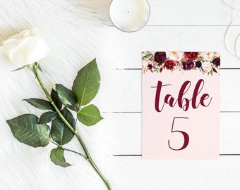 DIY Printable Pink and Burgundy Watercolour Floral Wedding Table Number | Calligraphy Script | Wedding Stationery and Table Decorations