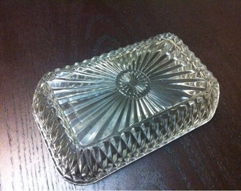 French Duralex Clear Cut Glass Candy Dish - Snack Dish - Vintage Duralex Butter Dish - Made in France