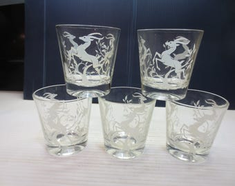 Set of 5  Federal Glass Etched Glass White Gazelle Old Fashioned Glasses