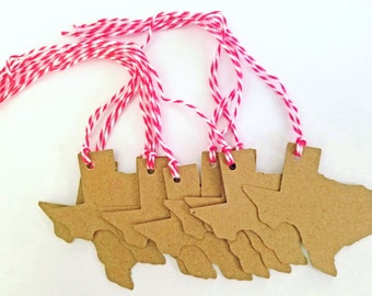 15 Texas Kraft Gift Tags with Red or Blue Baker's String