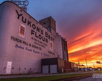 Yukons Best, Vintage Advertising, Landmark Print, Yukon Oklahoma, Grain Elevator, Sunset Photo, City Photography, Central OK, sunset art