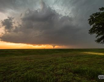 Tornado, Kansas Tornado, Distant Tornado, Photo Tornado, Picture Art, Decor Home Art, Distant Twister, Orange Glow, Nature Storm Art