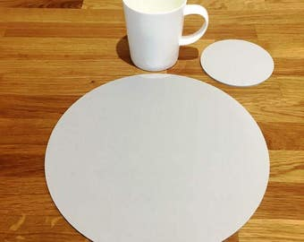 Round Placemats or Placemats & Coasters - in Light Grey Matt Finish Acrylic 3mm