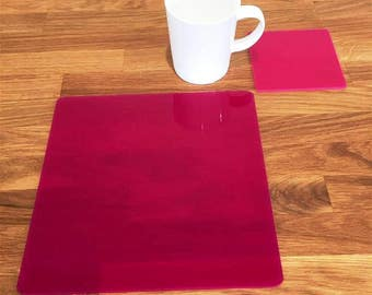 Square Placemats or Placemats & Coasters - in Pink Gloss Finish Acrylic 3mm