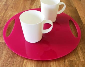 "Round Flat Serving Tray - Pink Gloss Finish Acrylic, 3mm Thick 32cm, 12.5"" Diameter"