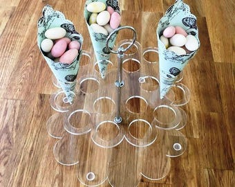 "Round Clear Gloss Finish Acrylic Wedding Favours/Sweets Cone Stand & Silver Metal Round Handle Rod, 21cm 8.5"" Diamater, 18 hole 3.5cm 1.5"""