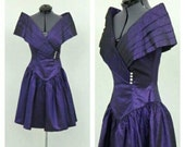 Vintage 80s Dark Purple Metallic Party Dress, Prom Dress, Short Formal Dress, Sparkly Dress, Full Skirt Dress, Knee Length Dress