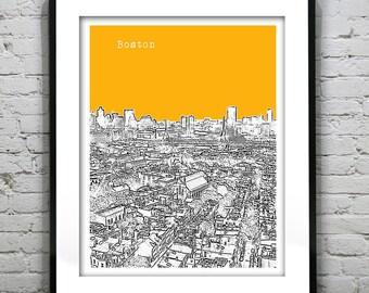1 Day Only Sale 10% Off - Boston MA City Skyline Poster Art Print Massachusetts Version 21