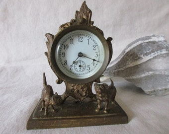 Vintage Cat & Dog Clock by The Columbia Clock Co.