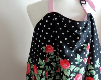 Nursing cover ,Breastfeeding apron,- Flowers and Dots