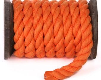 Orange - FMS Super Soft Triple-Strand 1/2 Inch Twisted Cotton Rope (100 Feet)