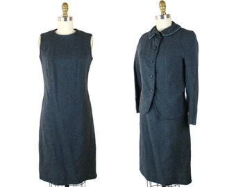 1960s Dusty Blue Wool Dress Suit / 60s Vintage Winter Dress with Jacket / Blue Wool Jumper