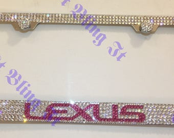 Lexus Stainless Steel bling license plate frame made with Swarovski crystal Hot Pink