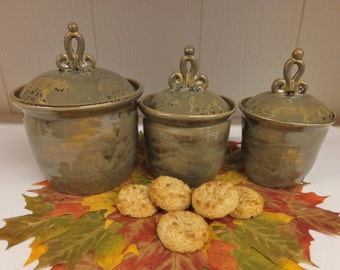 Moss Golden Brown Bear Canister Set with Unique Scroll Knobs