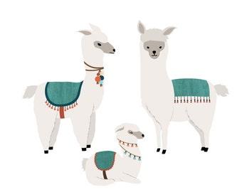 Llama Wall Decals - Llama Fabric Wall Decals
