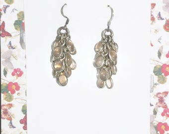 Sterling and Rose Quartz Dangle Cluster Earrings #H11a