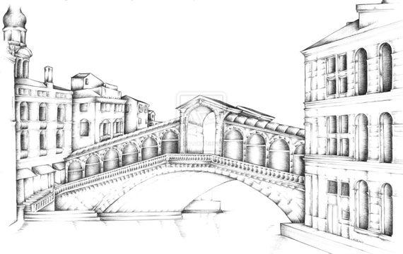 Ponte di rialto di venezia arte matita disegno alta qualit for Disegni di ponte anteriore