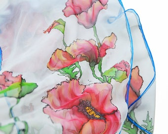 Red poppy Silk Scarf- Poppy flower scarf- Blue Floral Scarf- Hand Painted scarf- Scarf with Poppies- light blue Women Scarf- silk scarf blue