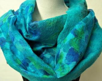 Nuno felted scarf, green blue. Silk, wool, felted shawl, aqua, handmade for women.