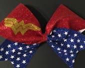 3in. Glitter Wonder Woman Superhero Cheer Bow
