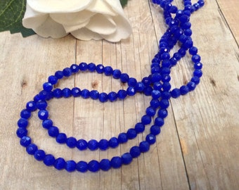 Faceted Blue Cat's Eye beads, 4 mm, 11.5 inch strand, 74 pcs / Blue Cats Eye Beads 4 mm