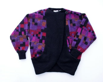 Vintage Sweater // Colorful Geometric Pattern Slouchy Cardigan