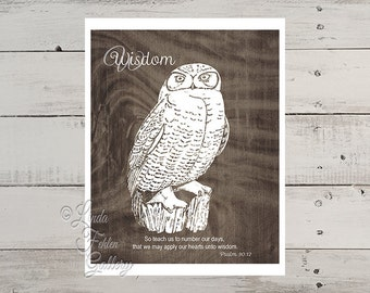 Unique Father's Day Gift - Owl Wall Decor- Owl Art Print- Gift for Men - Graduation Gift for Him - Christian Office Wall Art Scripture Print