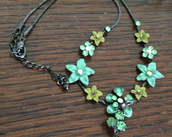 Green Glass Enamel Flower Necklace, 1980s Art Deco Revival Vintage Jewelry SALE
