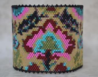 Peyote Bracelet Cuff, Seed Bead Bracelet Cuff, Floral Pattern Bracelet, Handmade