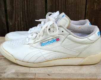 Vintage 80s Reebok Classic Womens White Leather Sneakers Princess Aerobic Athletic Tennis Shoes US sz 7