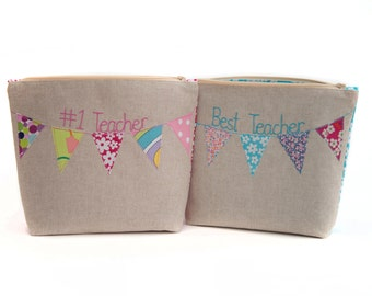 Personalised Cosmetic Bag // Thank You Teacher // Best Teacher// Teacher Gift // Bunting Design // Gift for Her