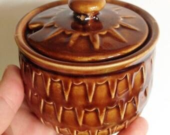 vintage lidded ceramic storage jar brown made in England