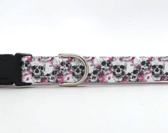 Sakura and Skulls Pet Collar (Martingale, Buckle, or Tag)
