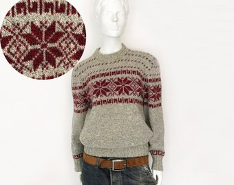 The Mount Saint Helens Vintage 80s Wool Sweater Oatmeal Heather Fair Isle Geo Snowflake Sweater Womens Jumper Medium