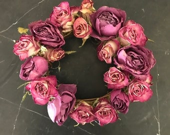 Dried pink roses wreath