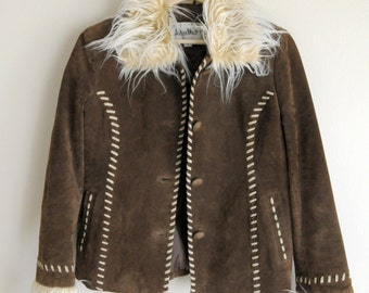 SALE Mongolian Fur Trim Suede Jacket