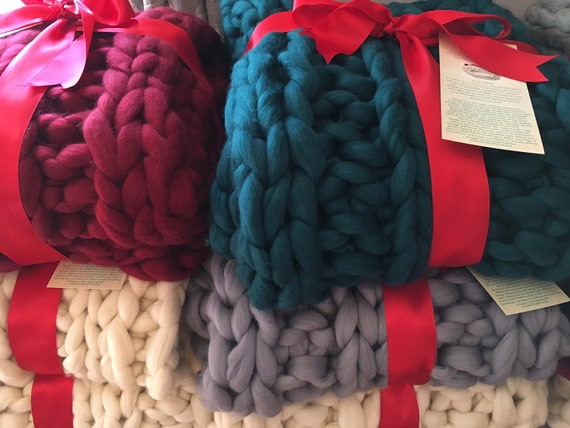 "Chunky Knit Blanket, COLOR, 32x54"" Pure Merino Wool, knit blanket, chunky throw, giant knitting"