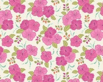 Pink Hibiscus, Island Girl, Lewis & Irene, tropical, summer, fabric by the yard, floral, Hawaii, quilting cotton, island princess