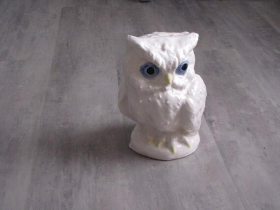 Vintage White Ceramic Owl Figurine Bank