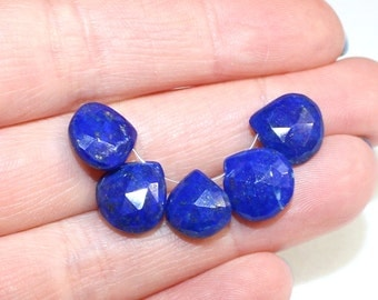 Faceted Lapis Teardrops Enhanced 2 Pieces 8x14mm Natural Gemstone Drops with Holes for Earrings or Jewellery Making